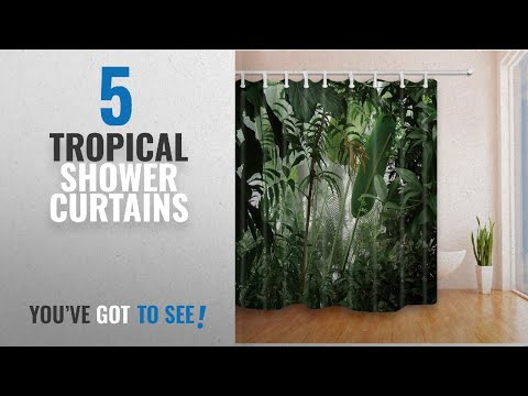 Top 10 Tropical Shower Curtains [2018]: NYMB Tropical Plants Decor Jungle Green Banana Leaves Shower