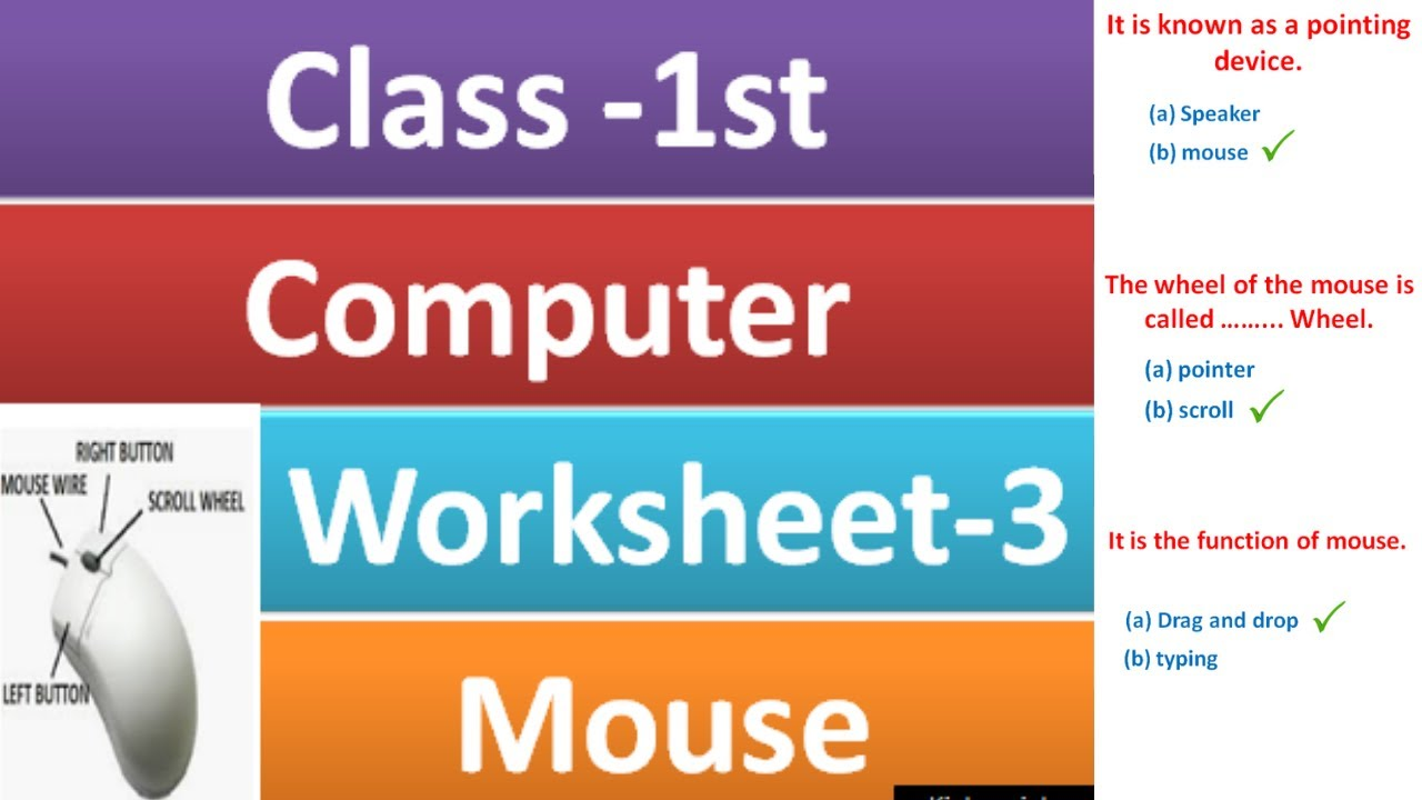 class 1 computer worksheet - 3  computer Mouse for class 1  grade 1  computer   mouse worksheet - YouTube [ 720 x 1280 Pixel ]