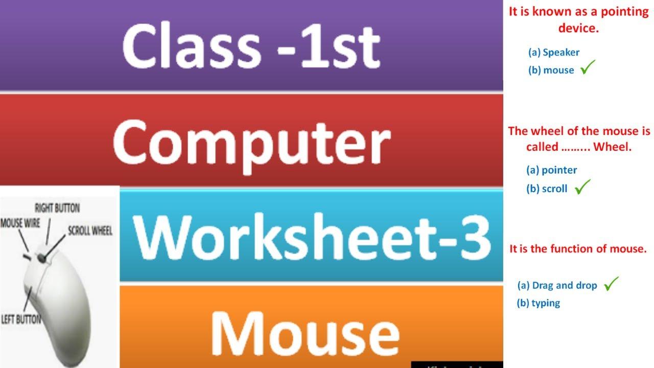 medium resolution of class 1 computer worksheet - 3  computer Mouse for class 1  grade 1  computer   mouse worksheet - YouTube