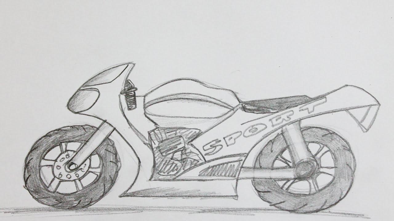 Como dibujar una moto paso a paso a lapiz  YouTube