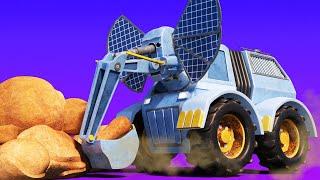 АнимаКары - СЛОН ЭКСКАВАТОР поднимает огромный камень в пустыне - мультфильмы с машинами и животными