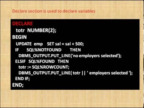 IMPLICIT CURSOR EXAMPLE PL SQL ORACLE PROGRAMMING - YouTube