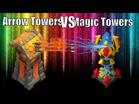 Castle Clash Arrow Towers VS Magic Towers