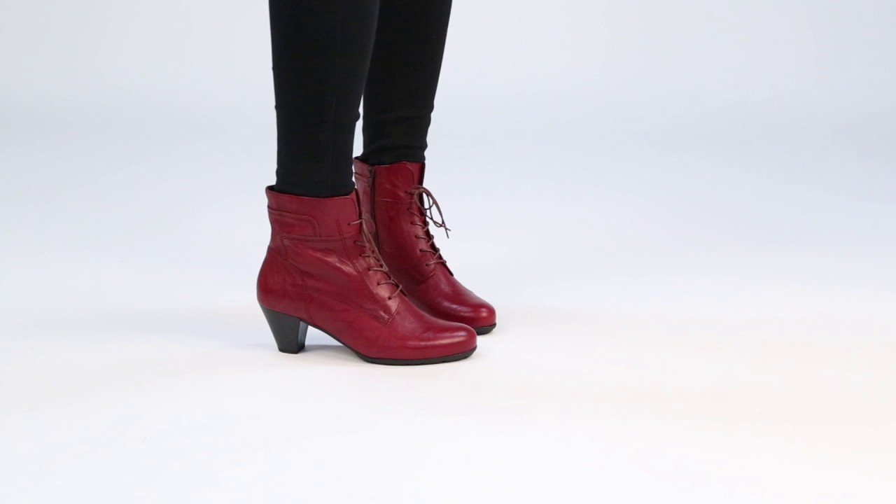 GABOR National Dark Red Womens Ankle Boots YouTube