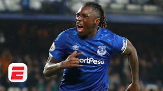 Everton's Moise Kean reacts to scoring first Premier League goal | Premier League