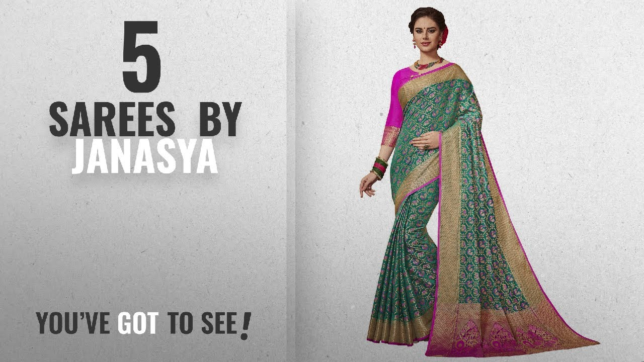 ac581619371adf Top 10 Janasya Sarees  2018   Janasya Women s Multi Silk Patola Saree With Unstitched  Blouse