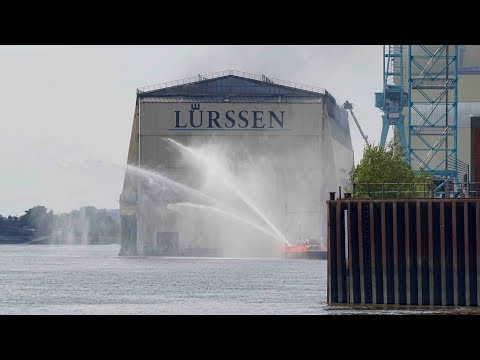 4K | Major Fire / Feuer Grossbrand at Lürssen Werft / shipyard - Yacht Project SASSI impacted