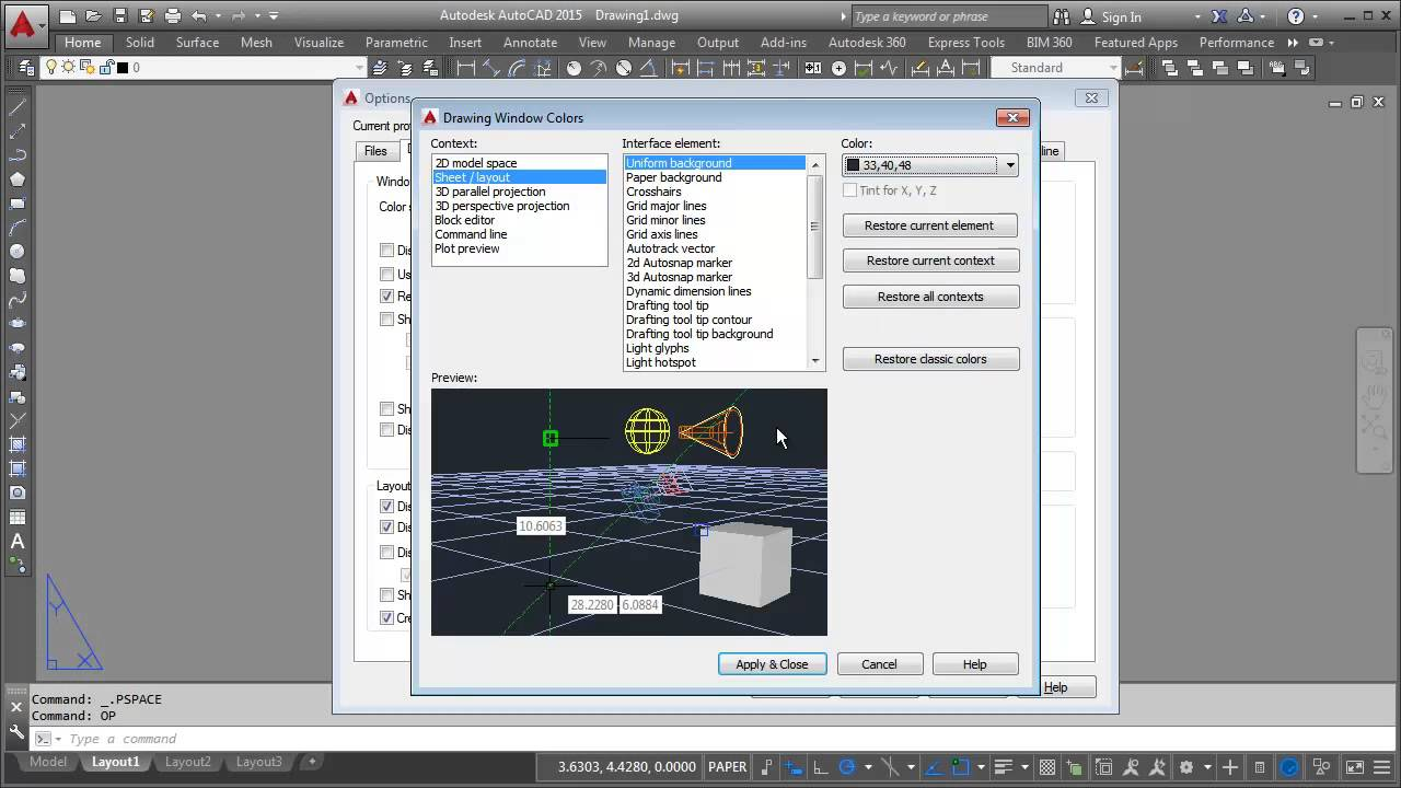 Changing AutoCAD Layout Background Color