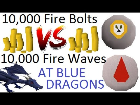 10,000 Fire Bolts VS. 10,000 Fire Waves At Blue Dragons! [OSRS]