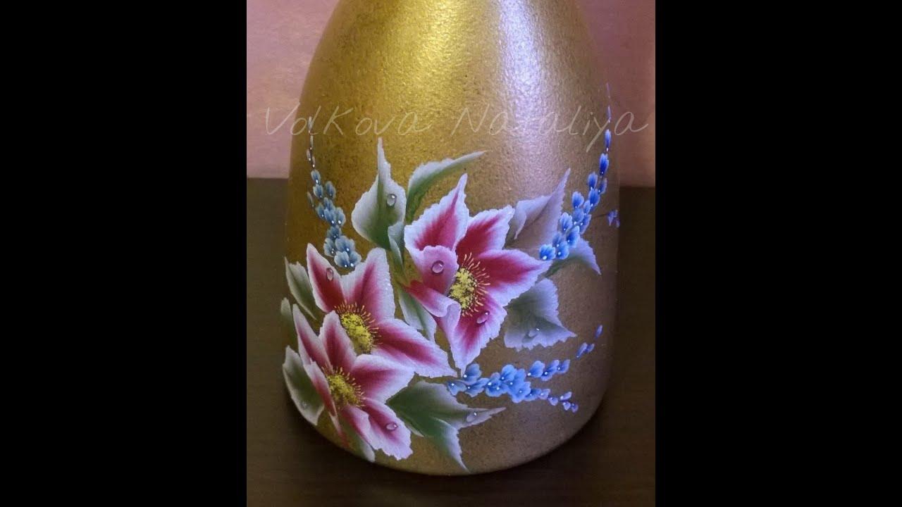 Top Come dipingere sul vetro con colori acrilici. Bottiglia dipinta  ON19
