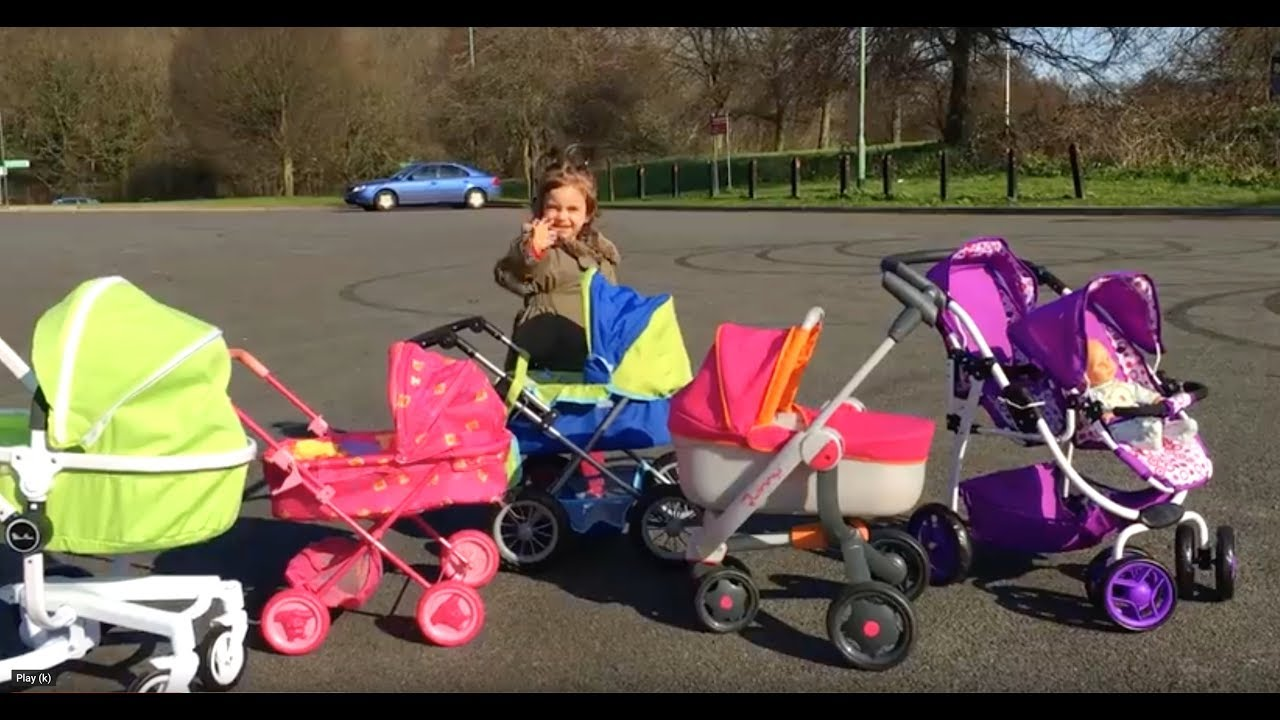 Playing With Baby Doll Prams Walking Pushchairs Youtube