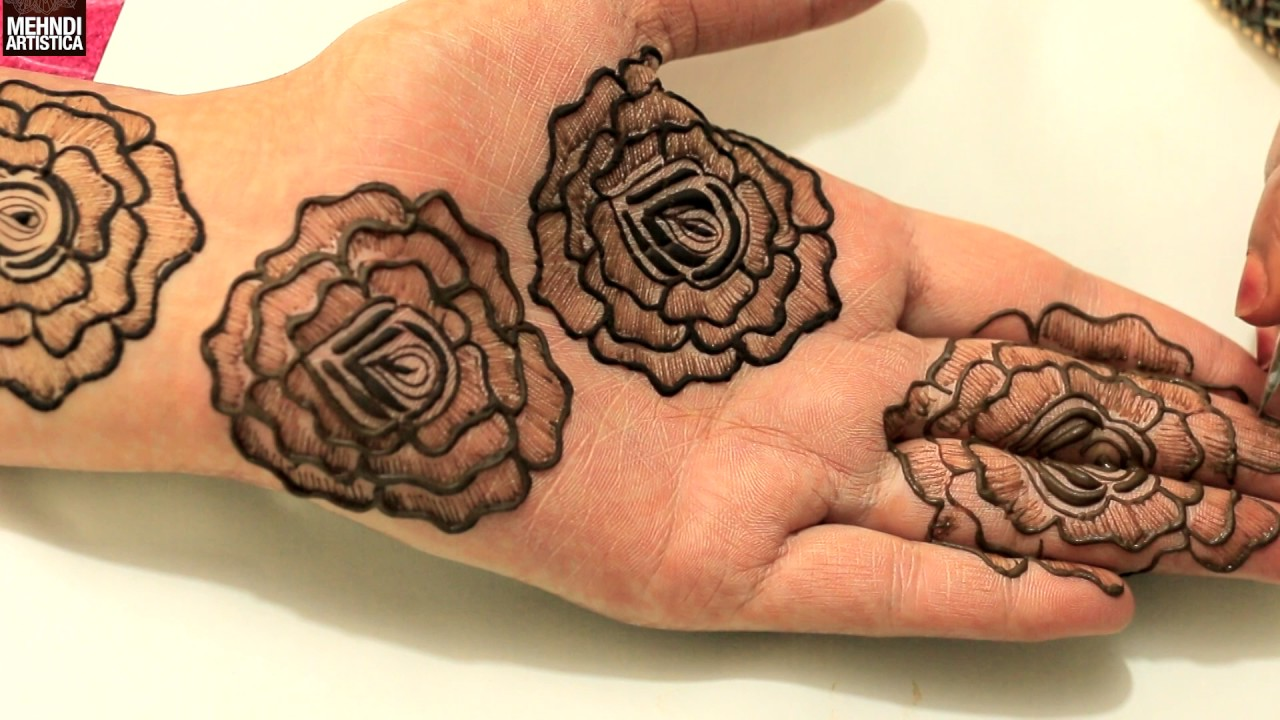 Gulf roses pattern mehndi henna tattoo for hands steps to for Rose henna tattoo