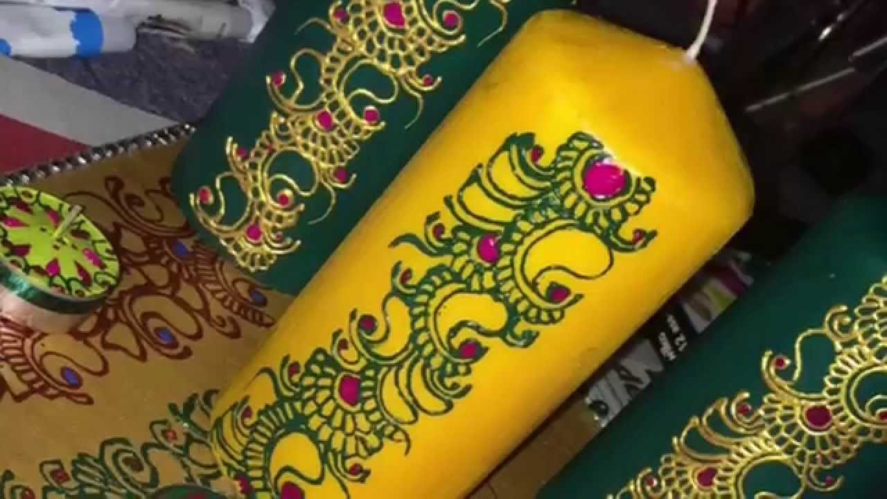 Mehndi For Candles : Part henna decorated candles youtube