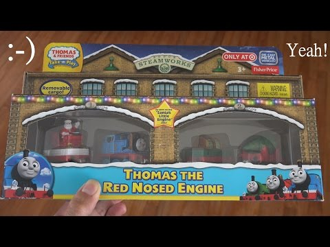 Thomas Take N Play Diecast Toy Train: Thomas the Red Nosed Engine Unboxing