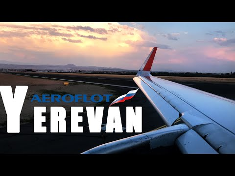 SHAKY DESCENT BEAUTIFUL SKY AND FANTASTIC SUNSET LANDING IN YEREVAN - Zvartnots Airport, Airbus A321
