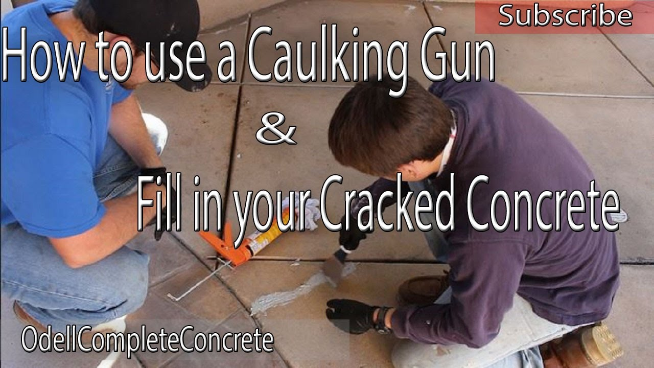 how to use a caulking gun and fill in cracked concrete youtube. Black Bedroom Furniture Sets. Home Design Ideas