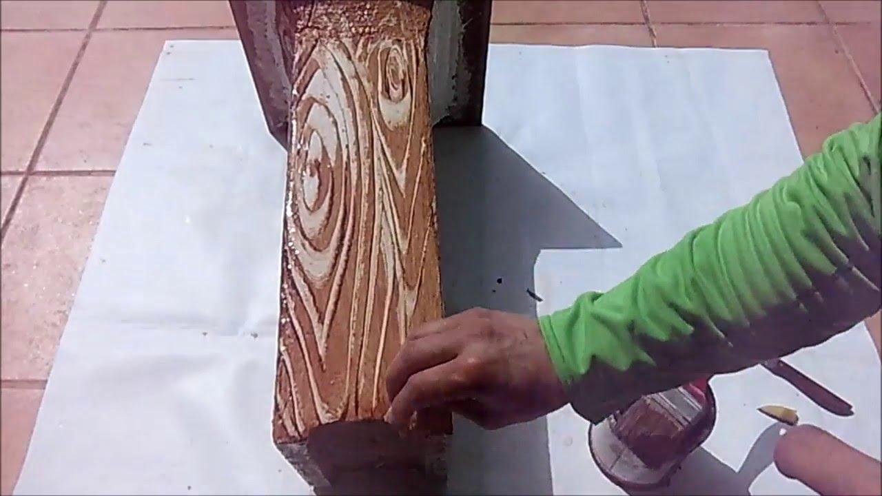 Imitaci n a madera en hormig n truco de la patata youtube for Como pintar imitacion piedra