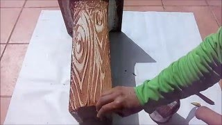 Imitación a madera en hormigón, truco de la patata.