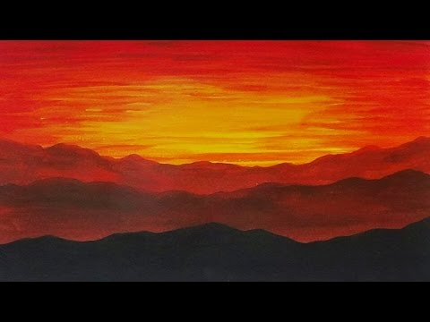 Acrylic Painting Sunset on the Mountains Landscape Painting