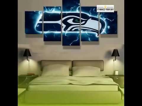 5 Piece Seattle Seahawks American Football Canvas Wall Art Paintings ...