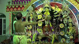 Hindu priest performs Durga Aarti, Durga Puja in Bihar