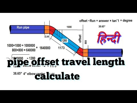 pipe offset formula manual/how to find travel on pipe/ (HINDI)
