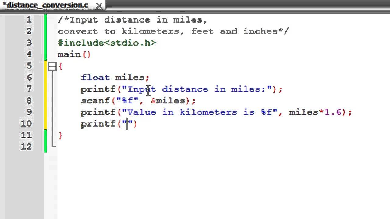 C Programming Tutorial 14 Distance Conversion Program