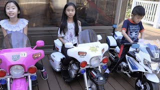 Pretend Play Police Motorcycle at Car Shop