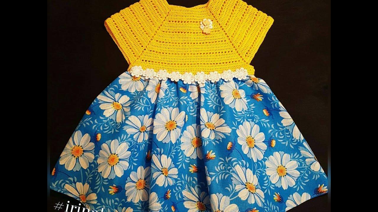 Комбинированное детское платье связанное крючком