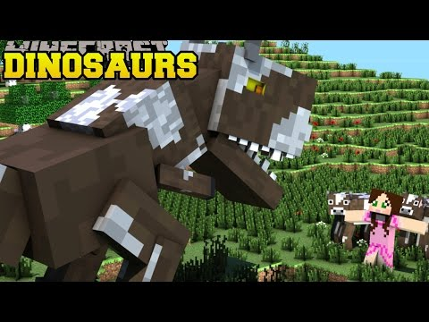 Minecraft: ESCAPING DINOSAURS! - FIND THE BUTTON EXTREME 2 - Custom Map