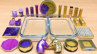 PURPLE vs GOLD ! Mixing Makeup Eyeshadow into Clear Slime! Special Series #66 Satisfying Slime Video