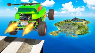 Jumping HOT WHEELS Cars Across the ENTIRE GTA 5 Map!!