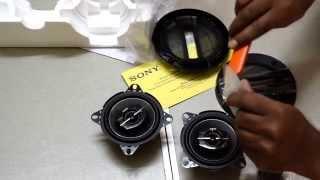 unboxing sony xs gtf10382 full range 3 way coaxial speaker 4 inch pair of speakers