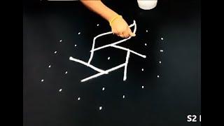 7X4 Dots rangoli designs * easy rangoli kolam * simple muggulu * tamil new year rangoli