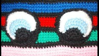 Глазки для рюкзака - Eyes for backpack - вязание крючком