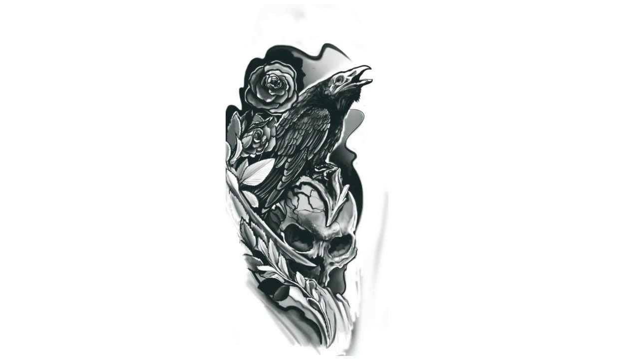 Projekt Tatuażu Kruk Na Czaszce Film