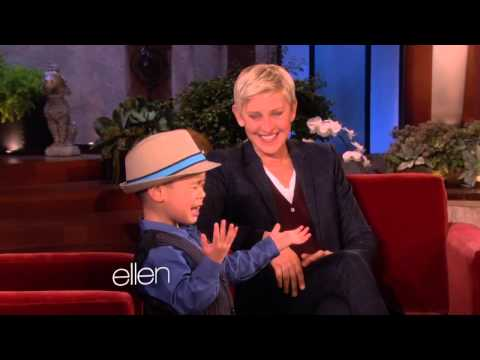 4 year old boy sings grenade for Ellen