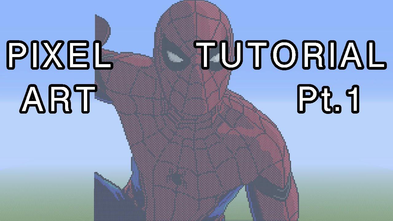 Minecraft Pixel Art Tutorial Spider Man Captain America Civil War Part 1 YouTube