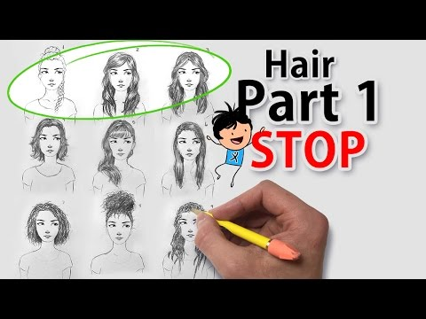 How to draw hair for beginners easy girl with long wavy