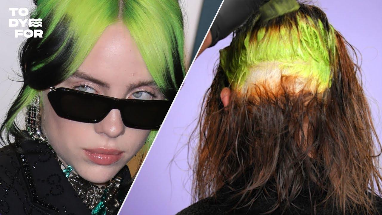 Insane Billie Eilish Inspired Hair Transformation / Neon Green Roots  Tutorial