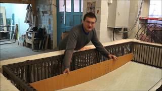 Гибка стекла 12 мм: Подготовка по шаблону настраиваемой формы для моллирования