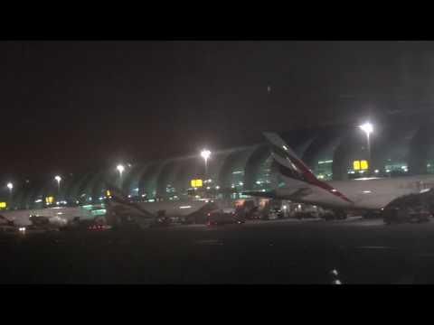 Night Landing in Dubai. December 2016. Emirates.