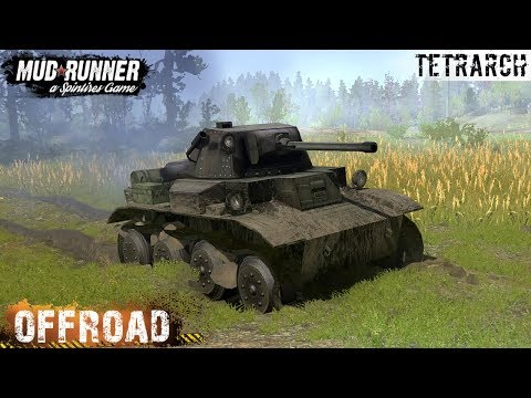 Spintires: MudRunner - TETRARCH-BATTLE CITY 1990 TANK Off-road And Dirt Test