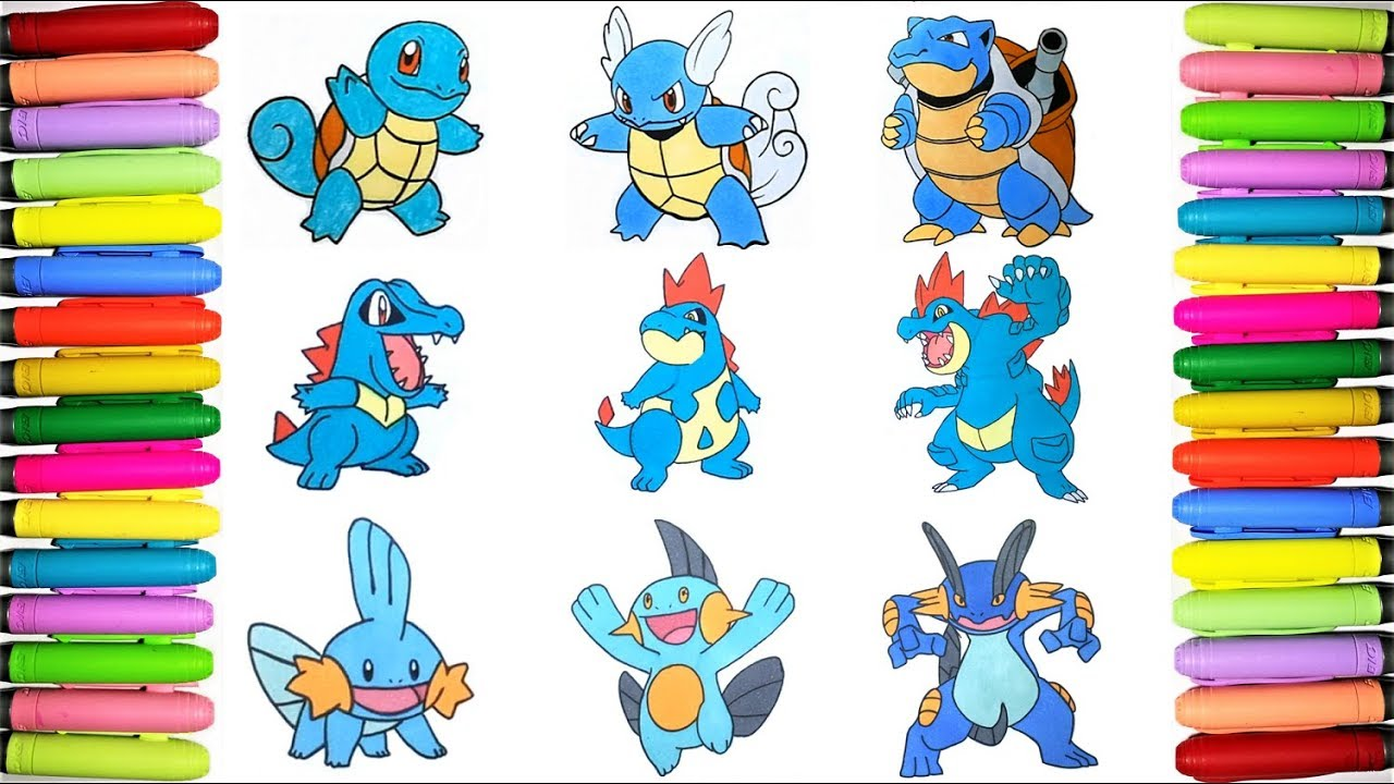 Water Starters Pokemon Coloring Episode 1 Youtube