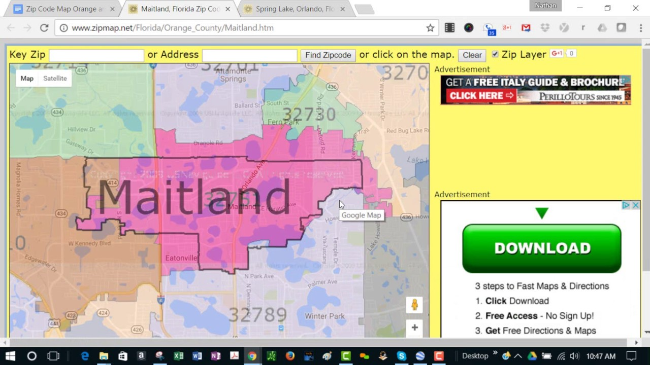 Florida Area Code Map.Useful Zip Code Map For Winter Park Orlando Florida Area No Personal