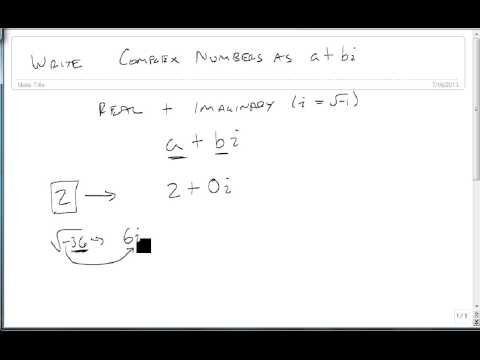 Write Complex Numbers In The Form A+bi