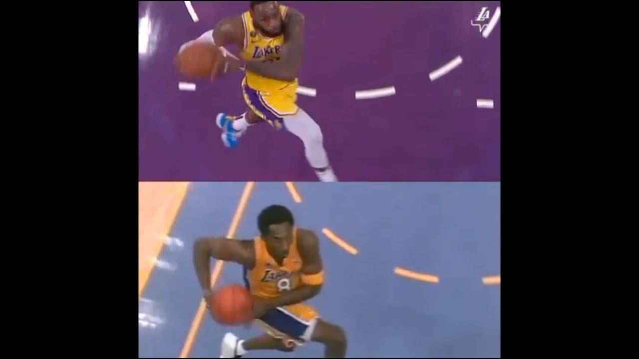 Lebron James Emulates Kobe Bryant With Epic Reverse Windmill Dunk Lebron Kobe Dunk Side By Side Youtube