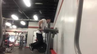 weighted bar dips - 110lb weighted dips for 7 reps