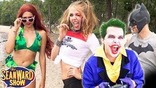 JOKER & BATMAN at the Beach vs Harley Quinn + Gotham Sirens