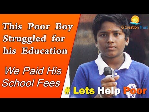 SHYAM - WE PAID HIS ONE YEAR SCHOOL FEES - ANDERSON SCHOOL KANCHIPURAM - DONATING FOR EDUCATION